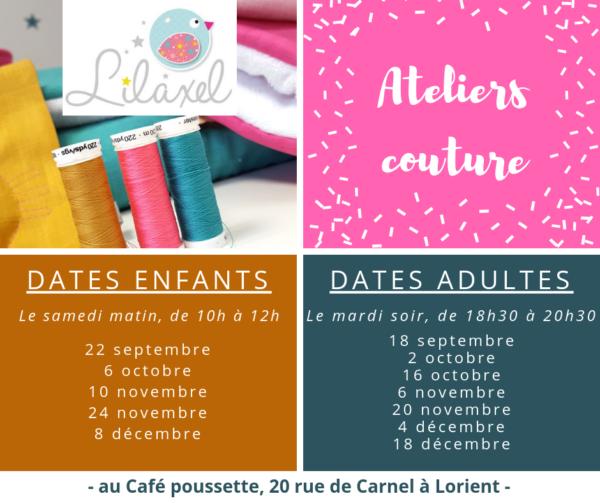 Ateliers couture pour les enfants et les adultes à Lorient - Lilaxel
