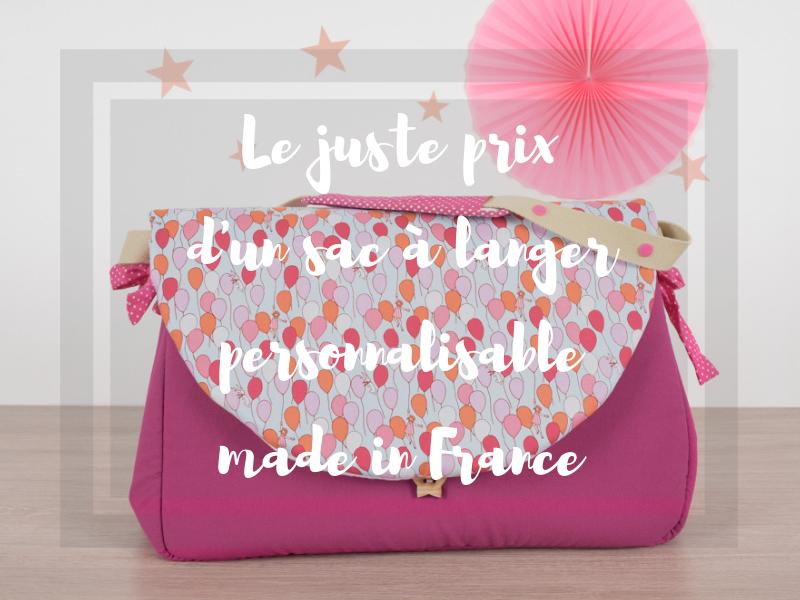 Le juste prix d'un sac à langer personnalisable made in France