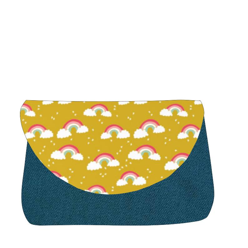 sac à langer bleu canard et arc en ciel