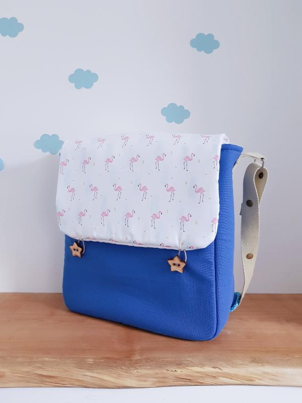 sac à langer lilaxel - petit modèle - bleu peps et flamants roses et ananas
