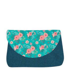 sac à langer bleu canard et fleurs turquoise