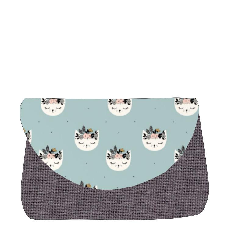 sac à langer gris et chats bleu