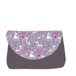 sac à langer gris et licornes - lilaxel