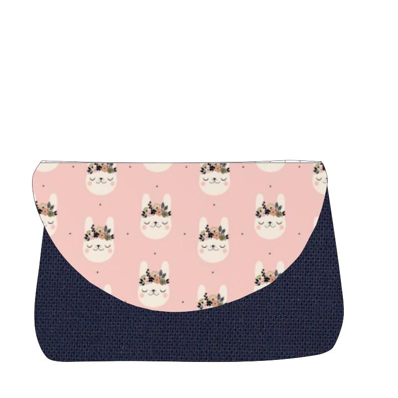 sac à langer marine et lapins rose
