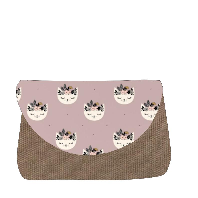 sac à langer taupe et chats lilas