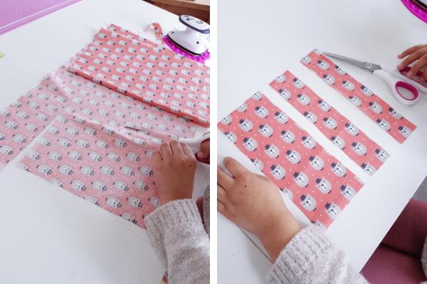 tuto trousse bujo - on coupe les 3 rectangles de tissu