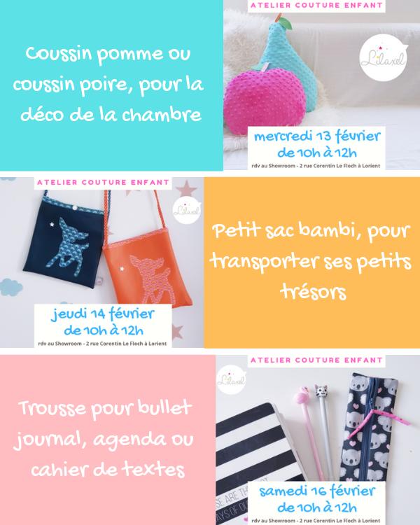 Ateliers couture enfant sur Lorient avec Lilaxel - 1ère semaine des vacances