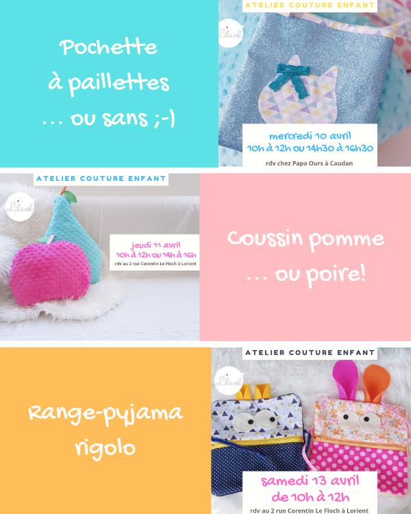 planning ateliers couture enfant lilaxel à lorient - vacances avril - semaine 1
