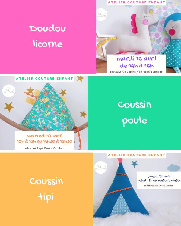 planning ateliers couture enfant lilaxel à lorient - vacances avril - semaine 2