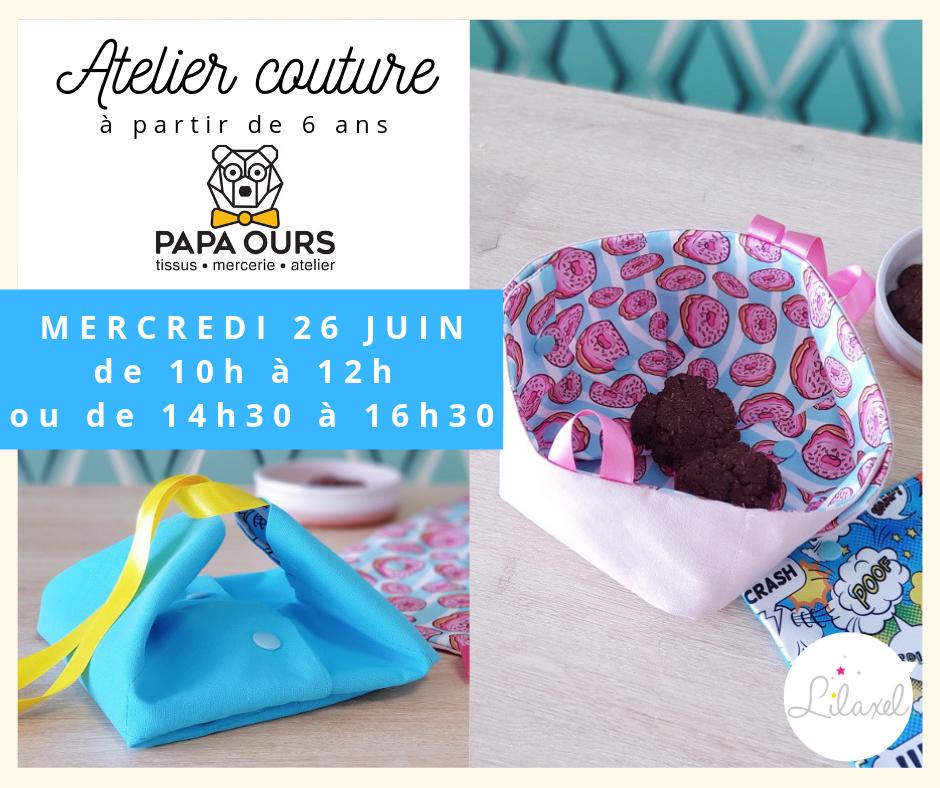atelier couture enfant caudan lorient - lunchbag pochette à goûter - papa ours - lilaxel