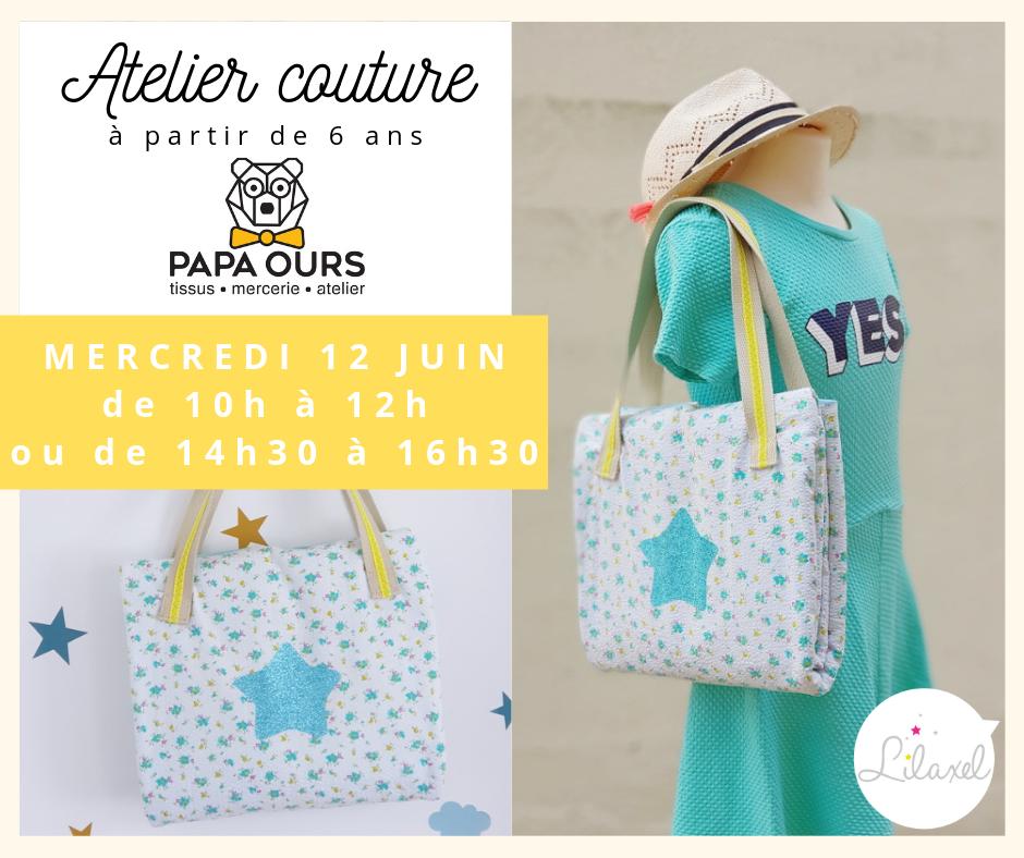 atelier couture enfant caudan lorient - sac et serviette de plage - papa ours - lilaxel