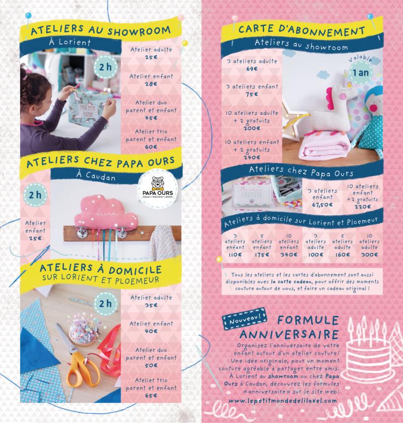 flyer tarifs ateliers couture lilaxel lorient caudan ploemeur papa ours